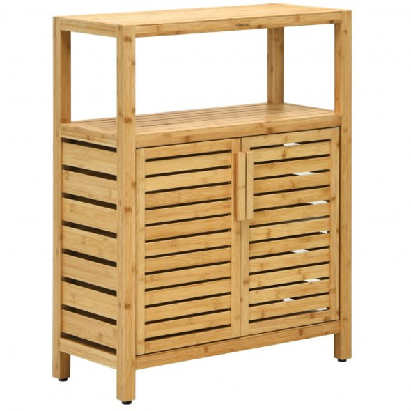 2-door Bamboo Floor Cabinet Storage Organizer with Open Shelf Adjustable Shelf