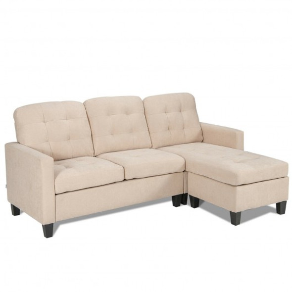 Convertible Sectional L-Shaped Couch with Reversible Chaise-Beige - COHW67551BE