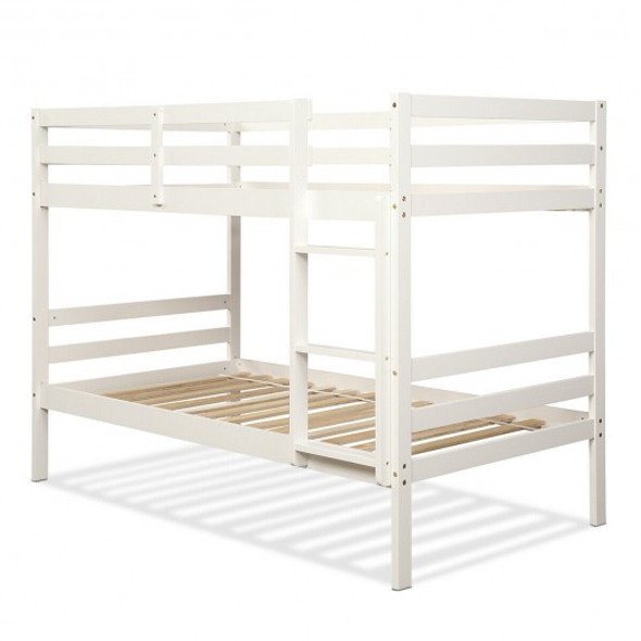 Twin Bunk Bed Children Wooden Bunk Beds Solid Hardwood-White
