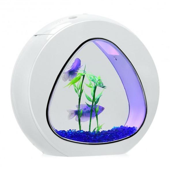 1Gallon Fish Aquarium Tank with Filter Air Pump-White