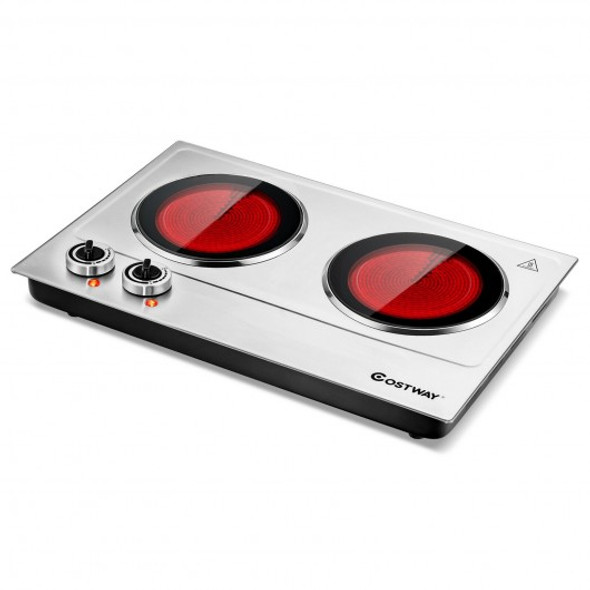 1800W Stainless Steel Infrared Cooktop with Non-slipping Feet and Adjustable Temperature