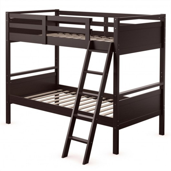 Twin Over Twin Bunk Bed Convertible 2 Individual Beds Wooden -Espresso