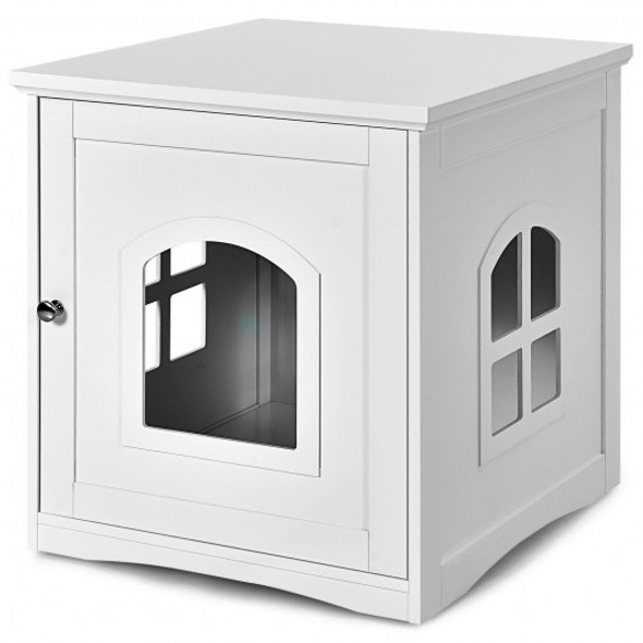 Side Table Nightstand Decorative Cat House-White
