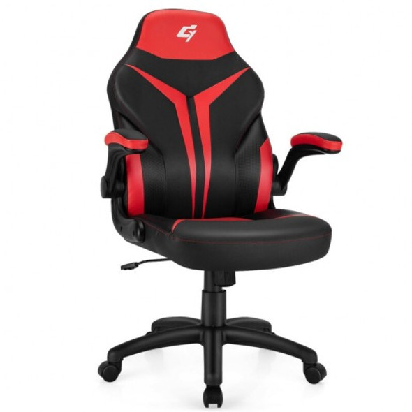 Height Adjustable Swivel High Back Gaming Chair Computer Office Chair-Red