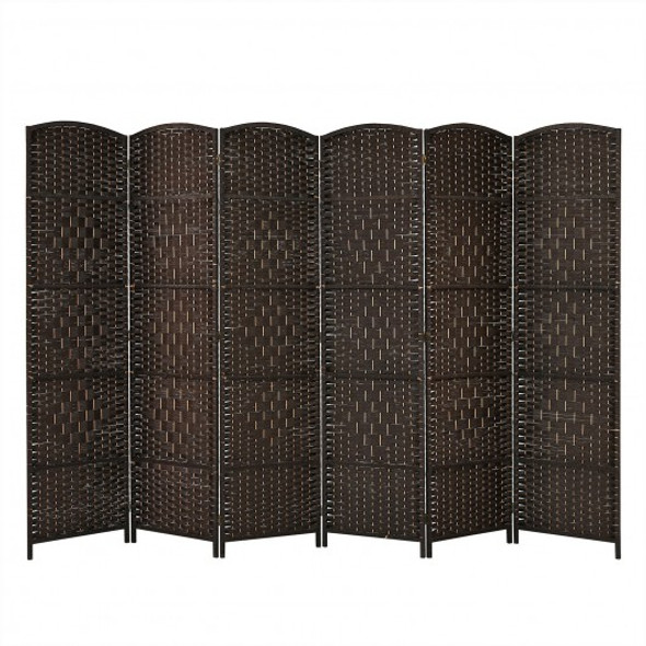 6.5Ft 6-Panel Weave Folding Fiber Room Divider Screen-Brown