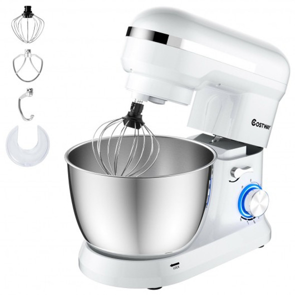 4.8 Qt 8-speed Electric Food Mixer with Dough Hook Beater-White