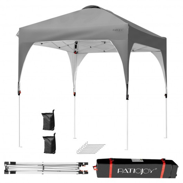 6.6 x 6.6 FT Pop Up Height Adjustable Canopy Tent with Roller Bag-Gray