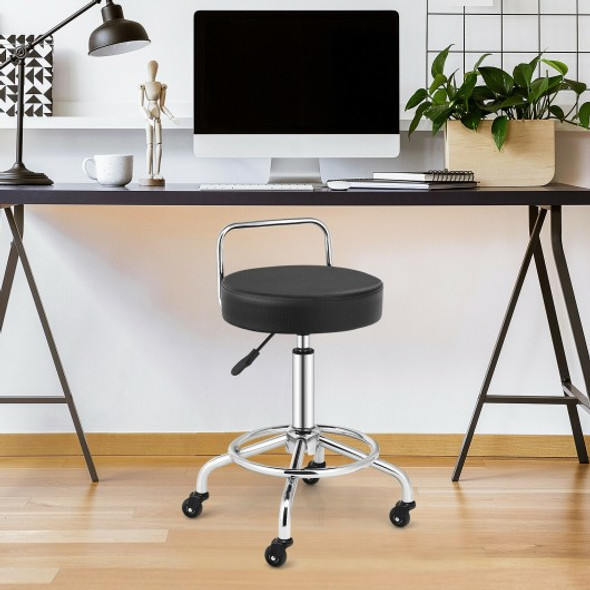 Pneumatic Work Stool Rolling Swivel Task Chair Spa Office Salon with Cushioned Seat-Black