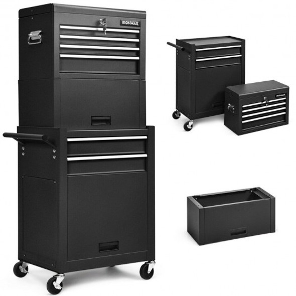 6-Drawer Tool Chest w/ Heightening Cabinet-Black