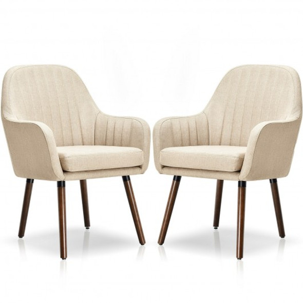 Set of 2 Fabric Upholstered Accent Chairs with Wooden Legs-Beige
