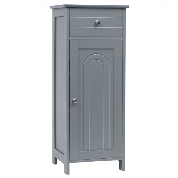 Wooden Storage Free-Standing Floor Cabinet with Drawer and Shelf-Gray