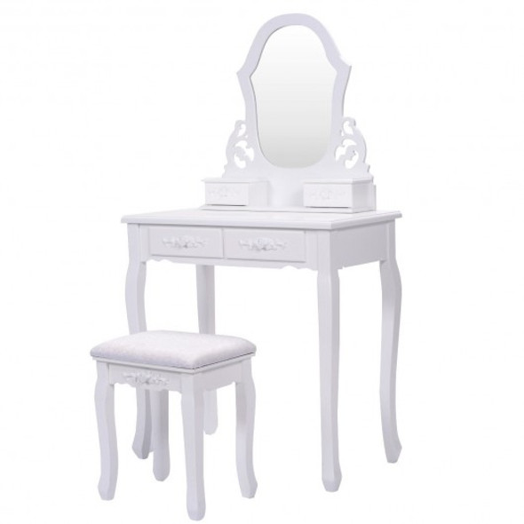 White Vanity Makeup Dressing Table with Mirror + 4 Drawers - COHW52952WH