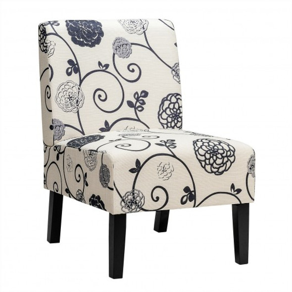 Armless Accent Chair  with Rubber Wood Legs -Black & White