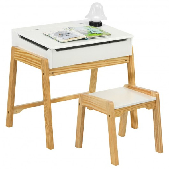 Children Activity Art Study Desk and Chair Set with Large Storage Space for Kids Homeschooling-White