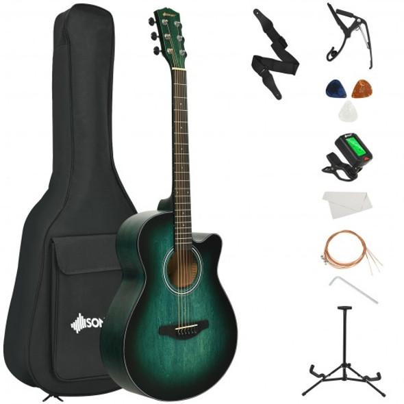 "40"" Full Size Cutaway Acoustic Guitar Starter Guitarra Bundle Kit -Green"