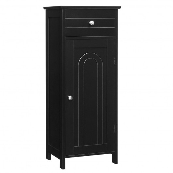 Wooden Storage Free-Standing Floor Cabinet with Drawer and Shelf-Black