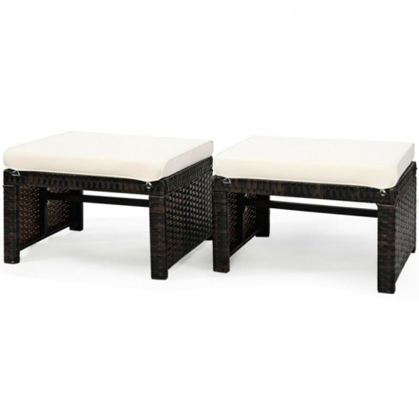 2 Pieces Cushioned Patio Rattan Ottoman Foot Rest-White
