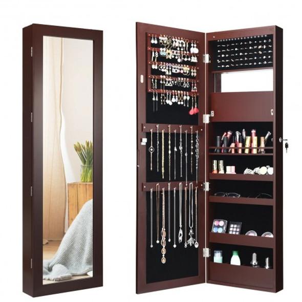 Lockable Wall Door Mounted Mirror Jewelry Cabinet w/LED Lights-Brown - COJV10086CF