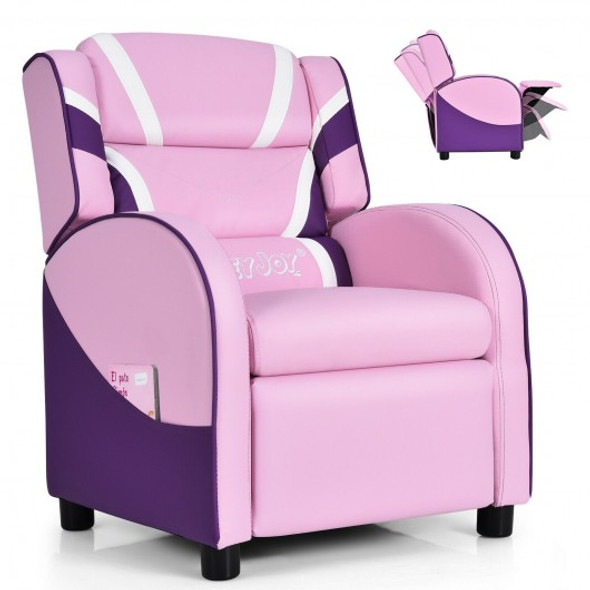 Kids Leather Recliner Chair with Side Pockets-Pink