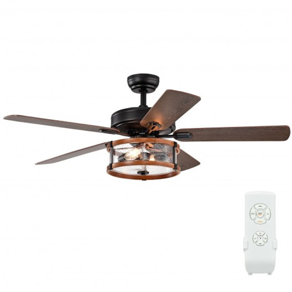 """52"""" Retro Ceiling Fan Lamp with Glass Shade Reversible Blade Remote Control"""
