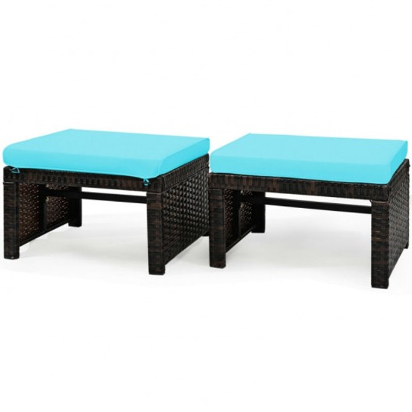 2 Pieces Cushioned Patio Rattan Ottoman Foot Rest-Turquoise