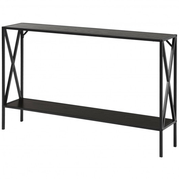 2 Tier Narrow Accent Side Entryway Metal Frame Console Table -Coffee