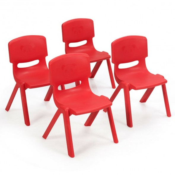 4-pack Kids Plastic Stackable Classroom Chairs-Red