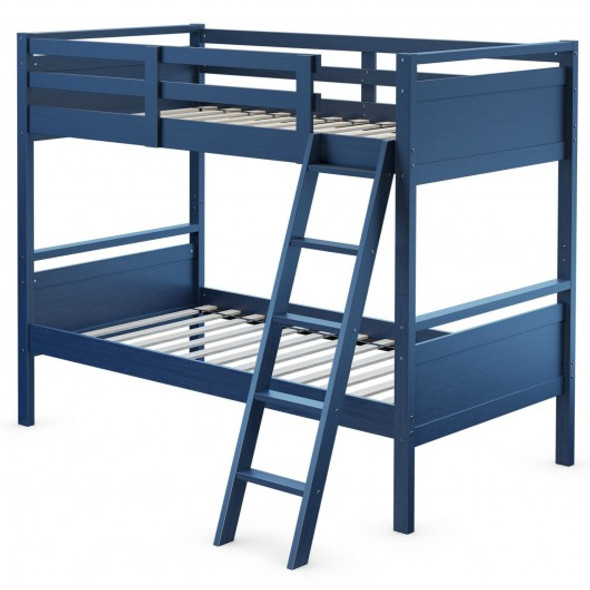 Twin Over Twin Bunk Bed Convertible 2 Individual Beds Wooden -Navy