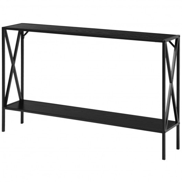 2 Tier Narrow Accent Side Entryway Metal Frame Console Table -Black