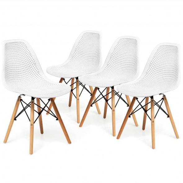 4 Pcs Modern Plastic Hollow Chair Set with Wood Leg-White