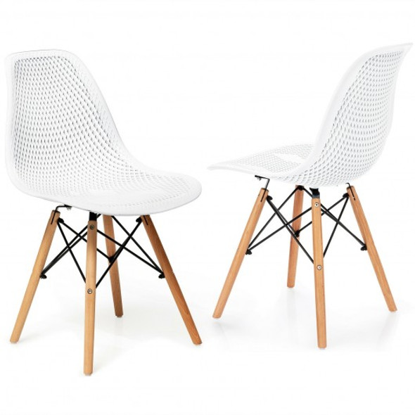 2 Pcs Modern Plastic Hollow Chair Set with Wood Leg-White