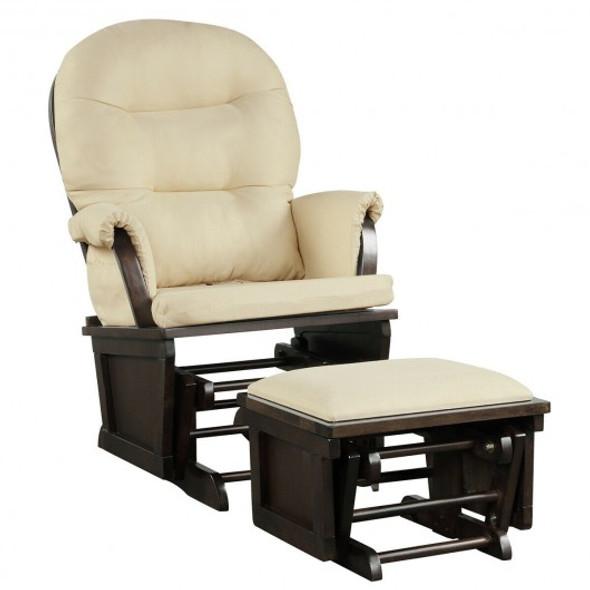 Baby Nursery Relax Rocker Rocking Chair Set-Beige - COHW67534BE