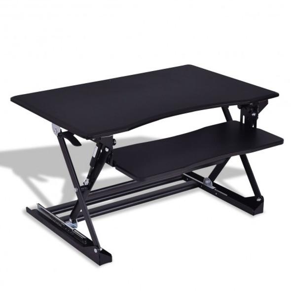 Height Adjustable Computer Desk Sit/Stand Desktop-White