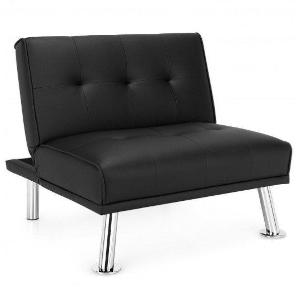 Single Sofa Lounge Chair with Metal Legs and Adjustable Backrest-Black