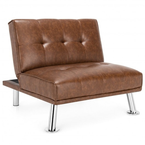 Single Sofa Lounge Chair with Metal Legs and Adjustable Backrest-Brown