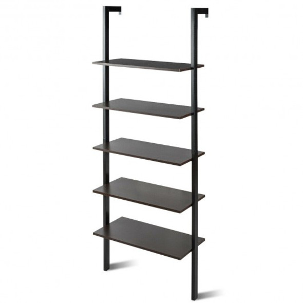 5-Tier Wood Look Ladder Shelf with Metal Frame for Home-Black