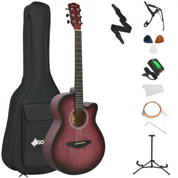 "40"" Full Size Cutaway Acoustic Guitar Starter Guitarra Bundle Kit -Red"