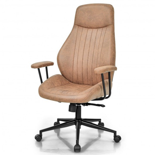High Back Ergonomic Office Chair with Suede Fabric-Brown