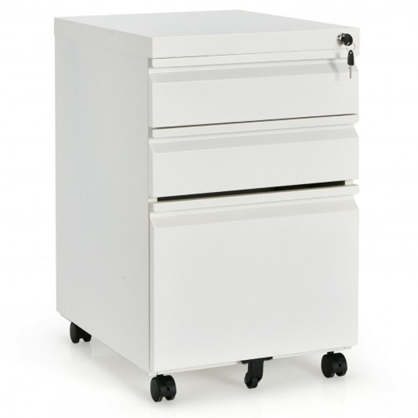 3-Drawer Mobile File Cabinet Stee with Lock-White