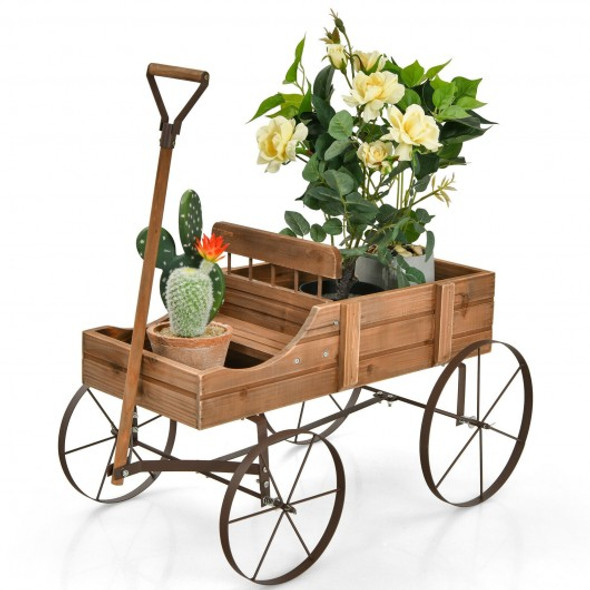 Wooden Wagon Plant Bed With Wheel for Garden Yard-Brown