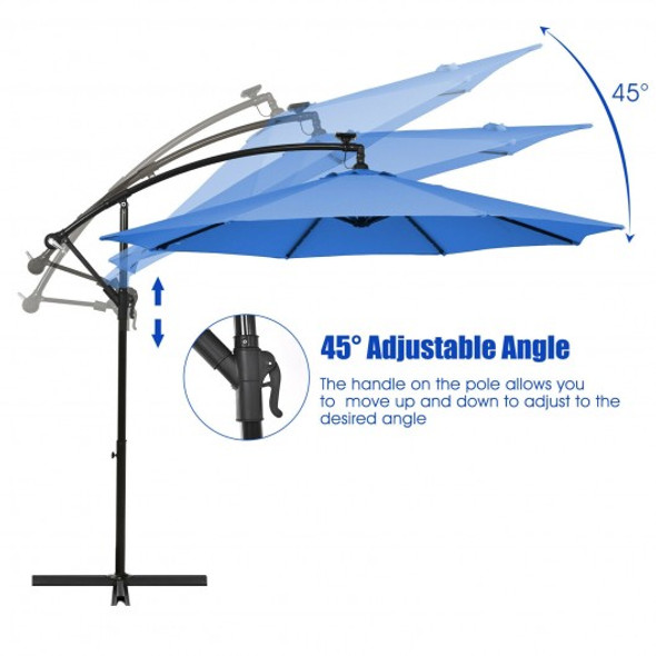 10 Ft Solar LED Offset Umbrella with 40 Lights and Cross Base for Patio-Blue