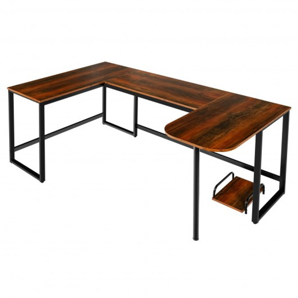 """79"""" U-Shaped Computer Desk with CPU Stand for Home Office -Brown"""