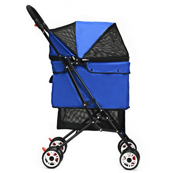 Pet Foldable Cage Stroller For Cat And Dog-Blue
