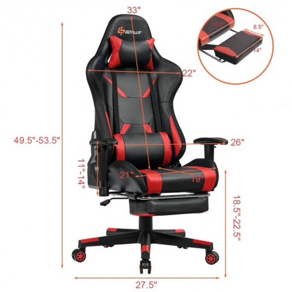 Massage Gaming Chair Ergonomic High Back with RGB Light and RecliningHandrails-Red
