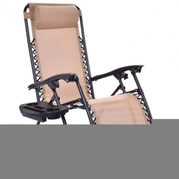 2 pcs Folding Recliner Zero Gravity Lounge Chair - Beige