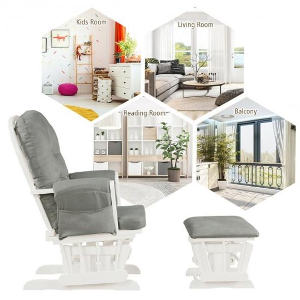 Baby Nursery Relax Rocker Rocking Chair Glider & Ottoman Set-Light Gray - COHW67532SL