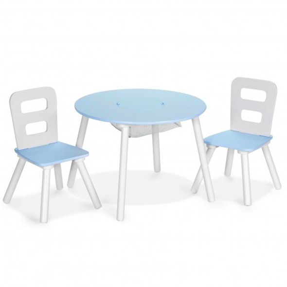 Wood Activity Kids Table and Chair Set with Center Mesh Storage for Snack Time and Homework-Blue