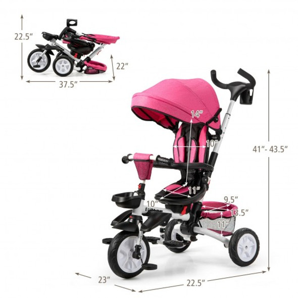 6-in-1 Detachable Kids Baby Stroller Tricycle with Canopy and Safety Harness-Pink