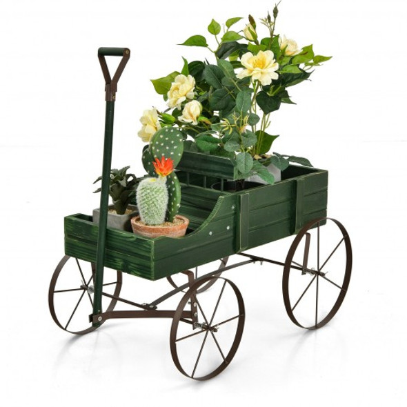 Wooden Wagon Plant Bed With Wheel for Garden Yard-Green