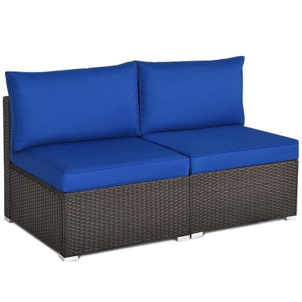 2 Pieces Patio Rattan Armless Sofa Set with 2 Cushions and 2 Pillows-Navy